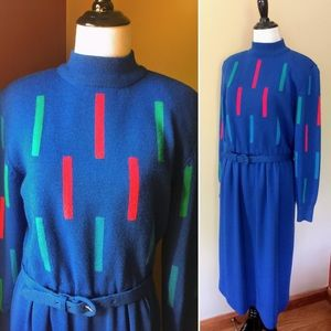 Vintage 80s pure wool Ciao geometric sweater dress